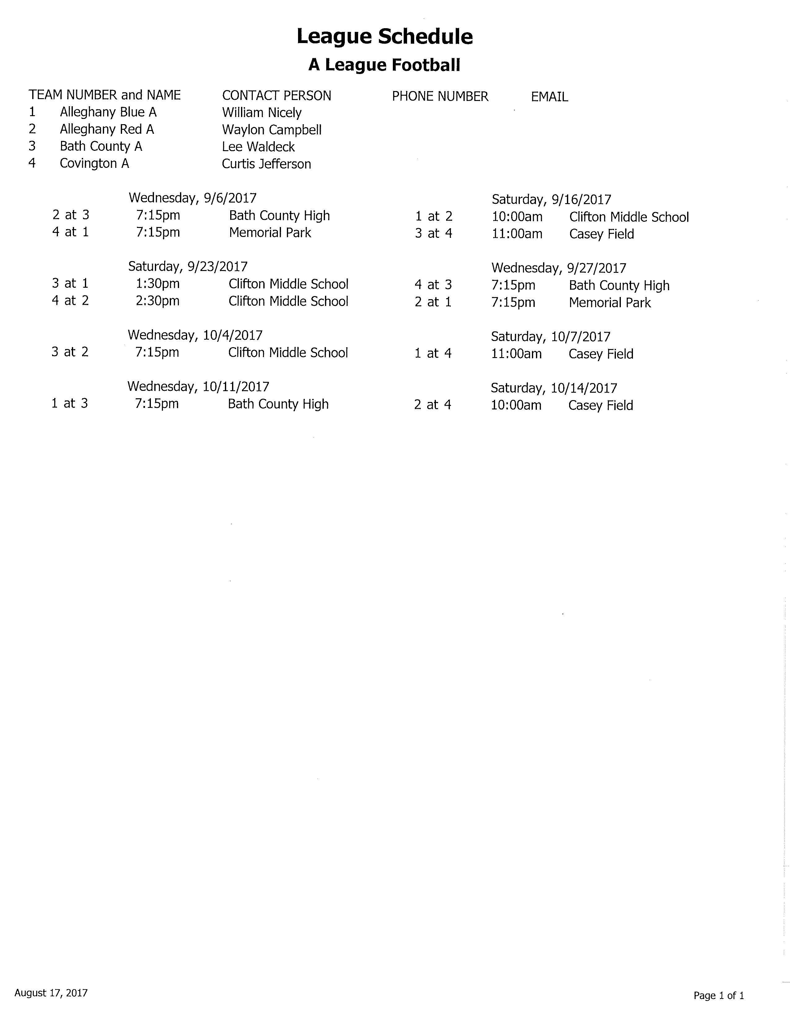 2017 A League Football Schedule