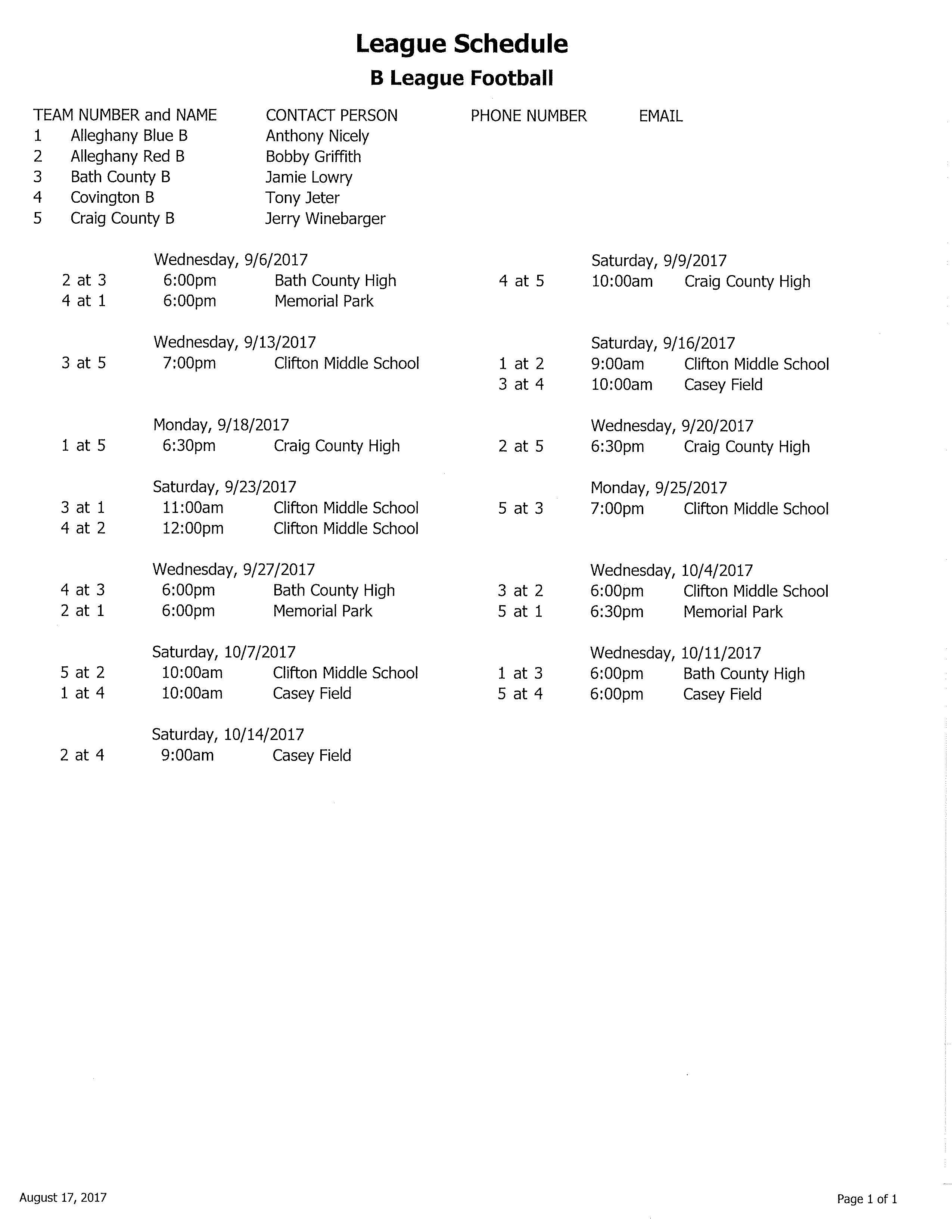 2017 B League Football Schedule
