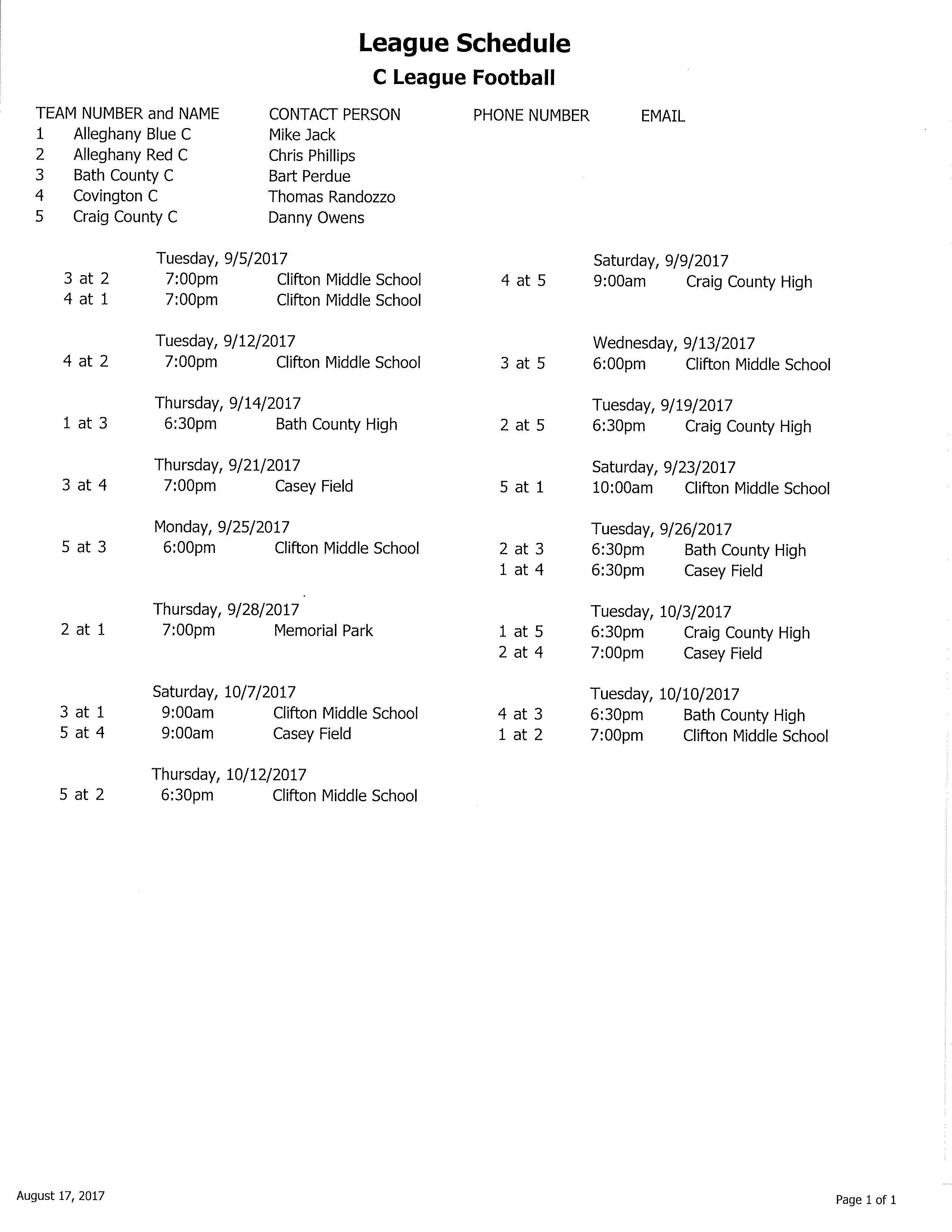 2017 C League Football Schedule