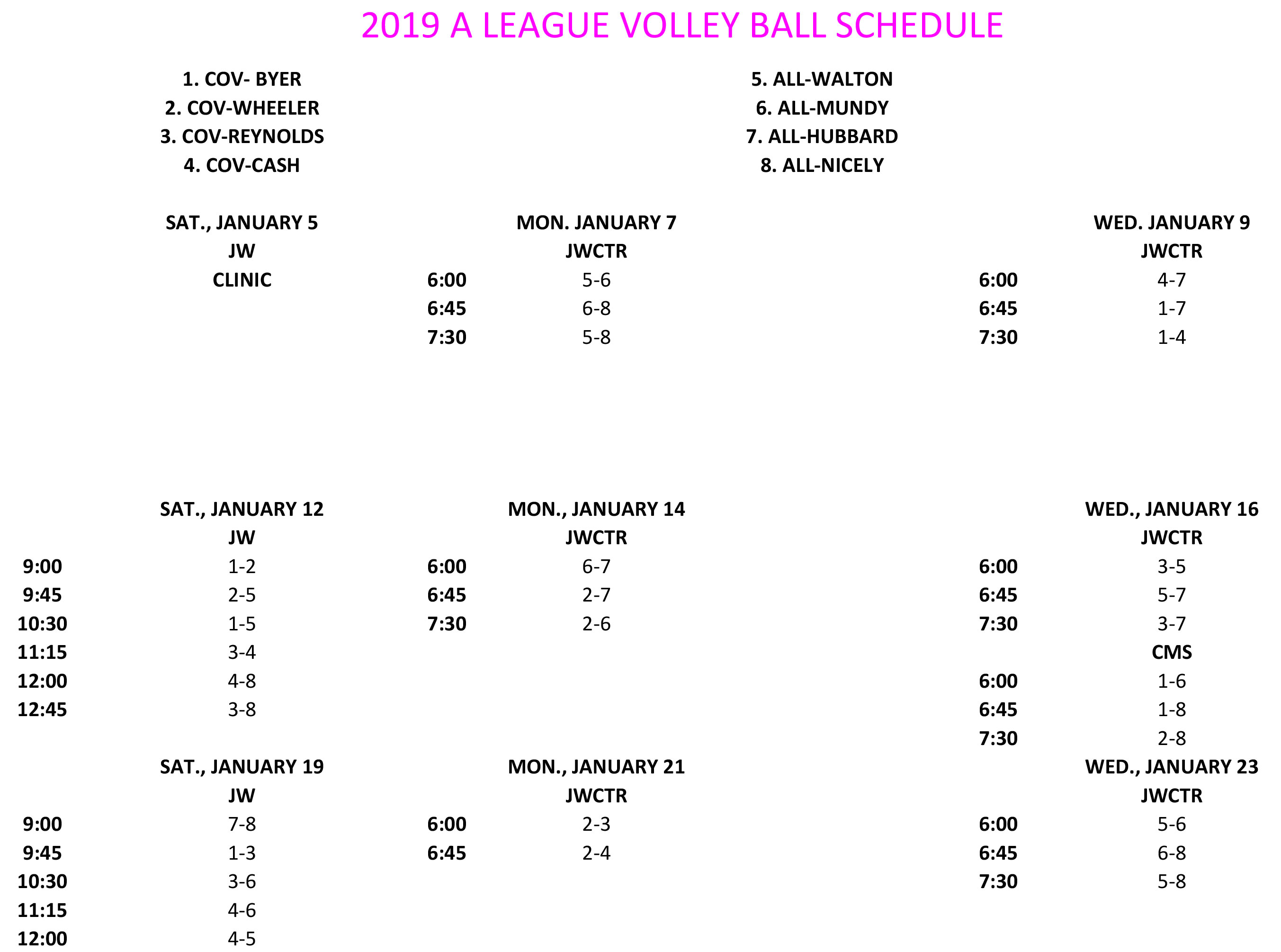 2019 A LEAGUE VOLLEYBALL SCHEDULE 1