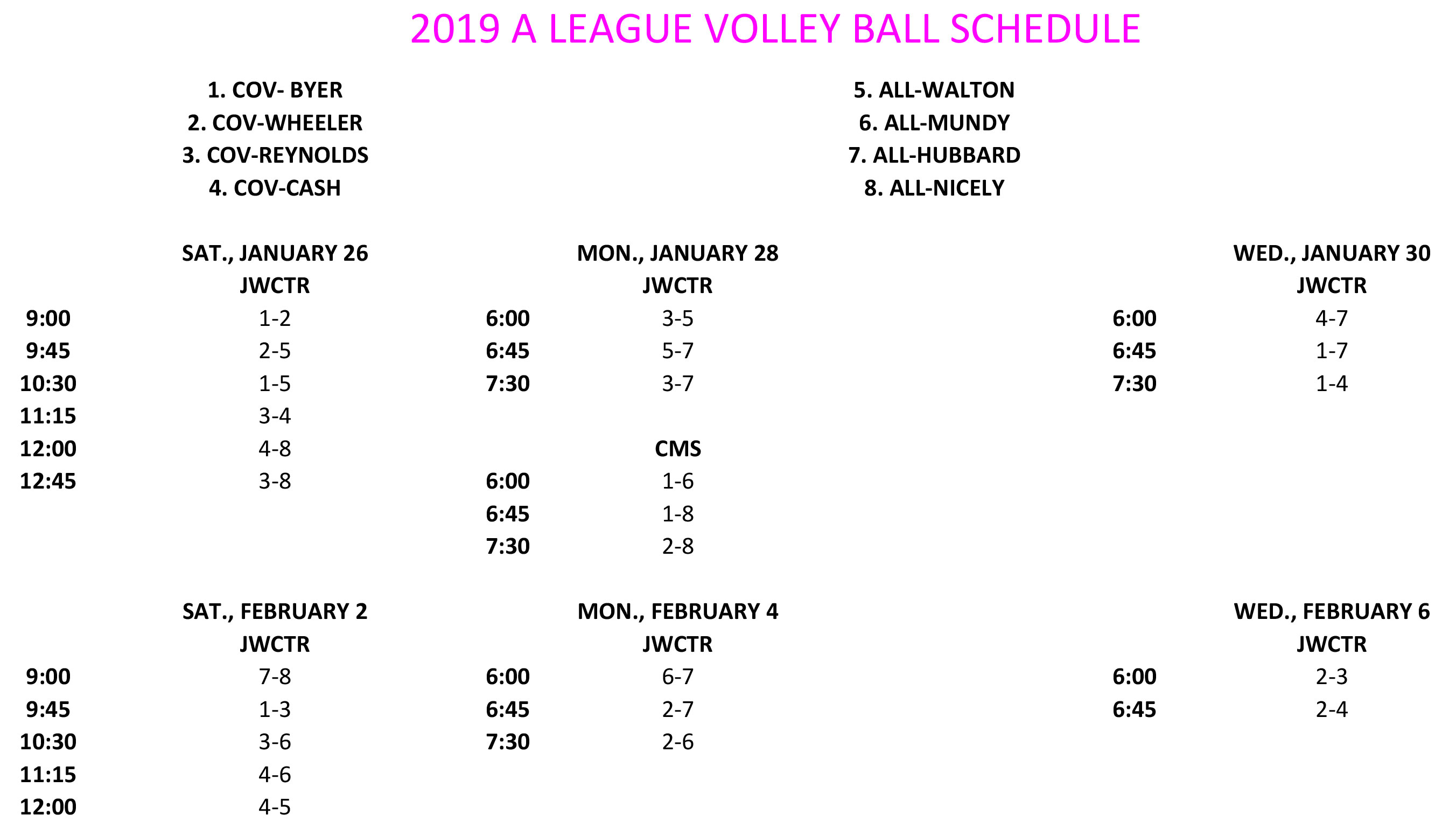 2019 A LEAGUE VOLLEYBALL SCHEDULE 2