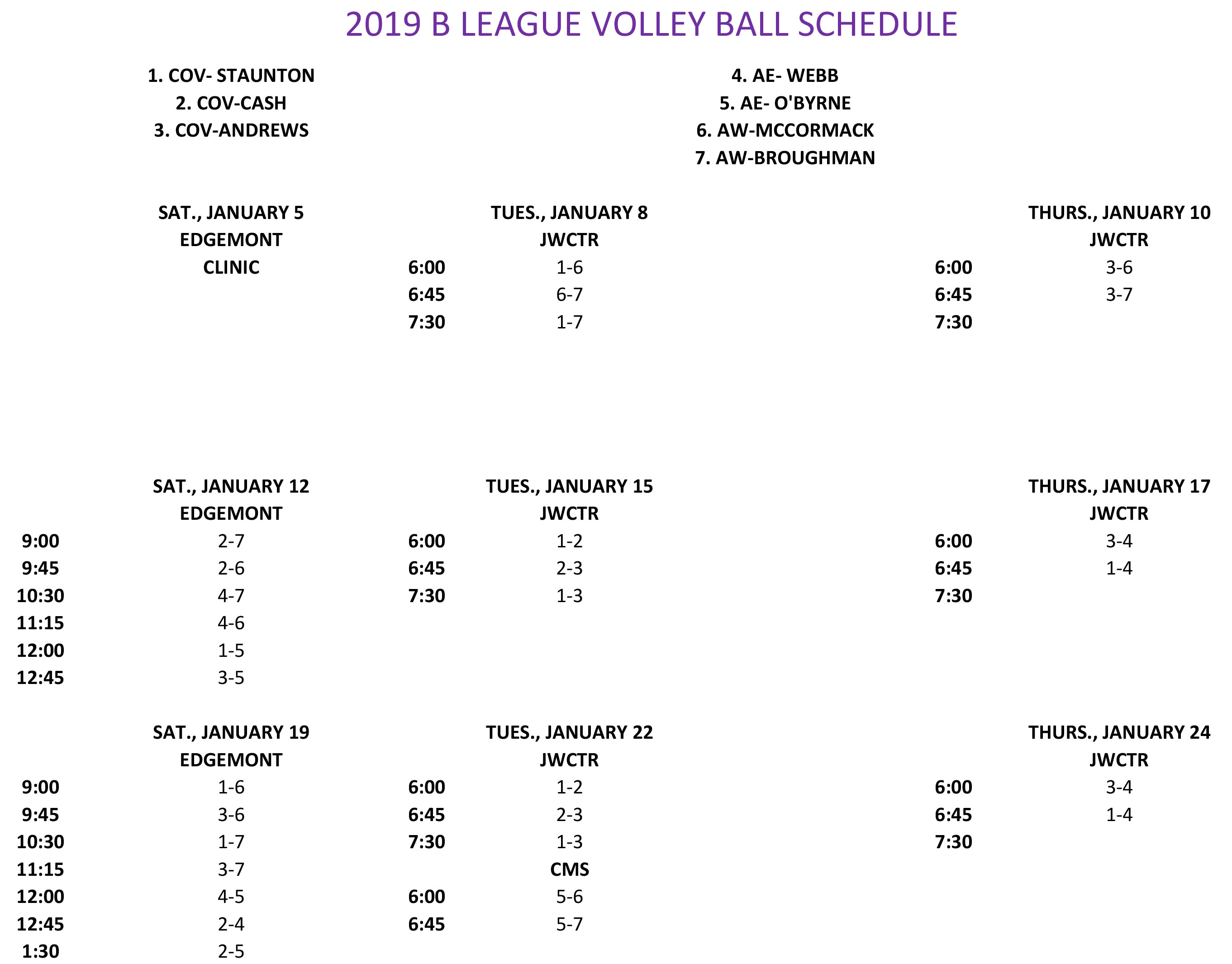 2019 B LEAGUE VOLLEYBALL SCHEDULE 1