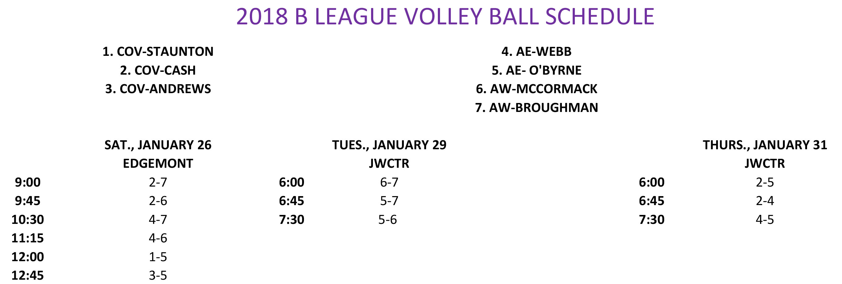 2019 B LEAGUE VOLLEYBALL SCHEDULE 2