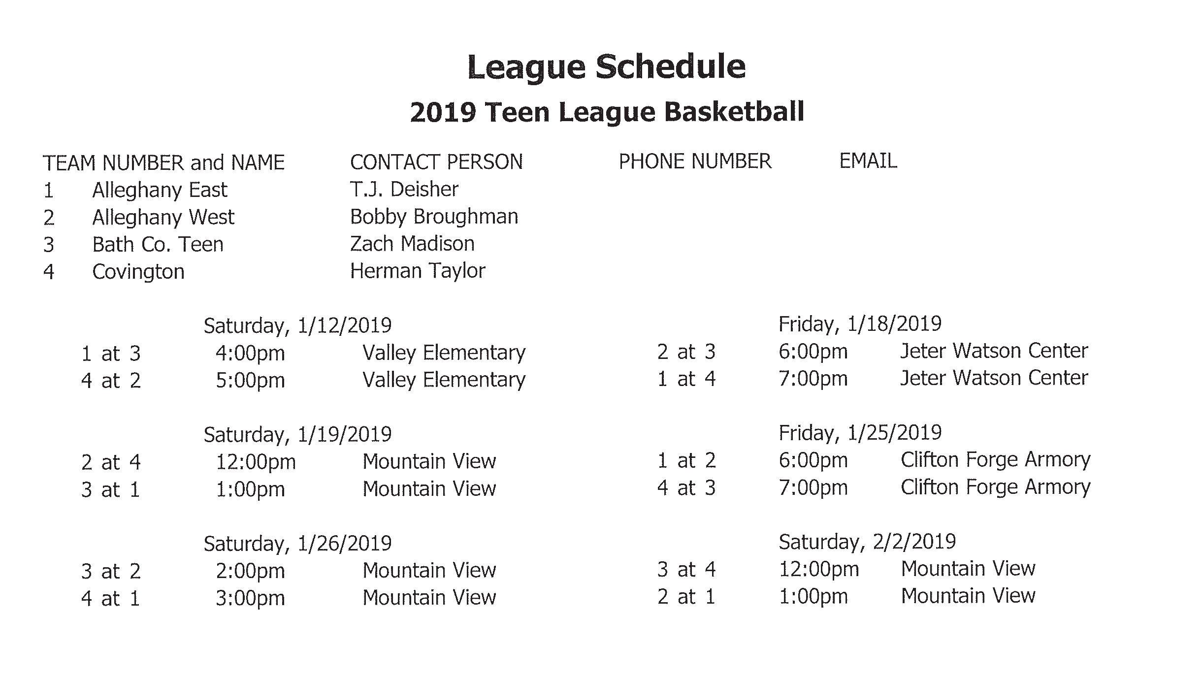 2019 Teen Basketball Schedule