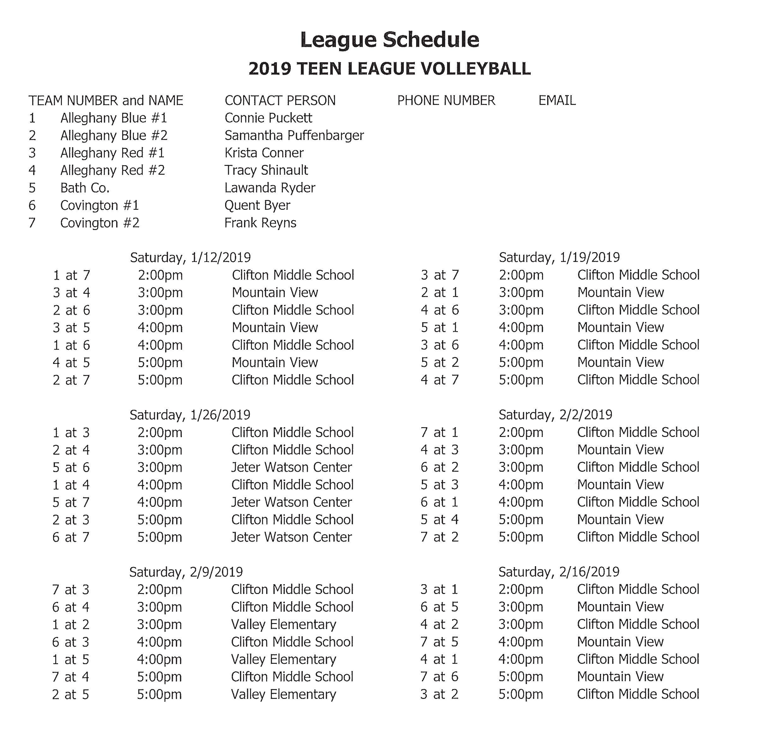 2019 Teen Volleyball Schedule